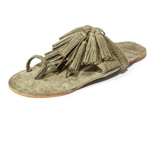 FIGUE Scaramouche Green Suede Slide Sandals